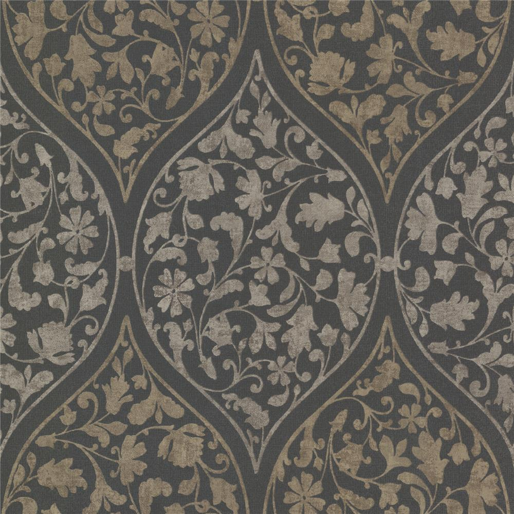 Beacon House by Brewster 450-67384 Zinc Adelaide Charcoal Ogee Floral Wallpaper in Charcoal
