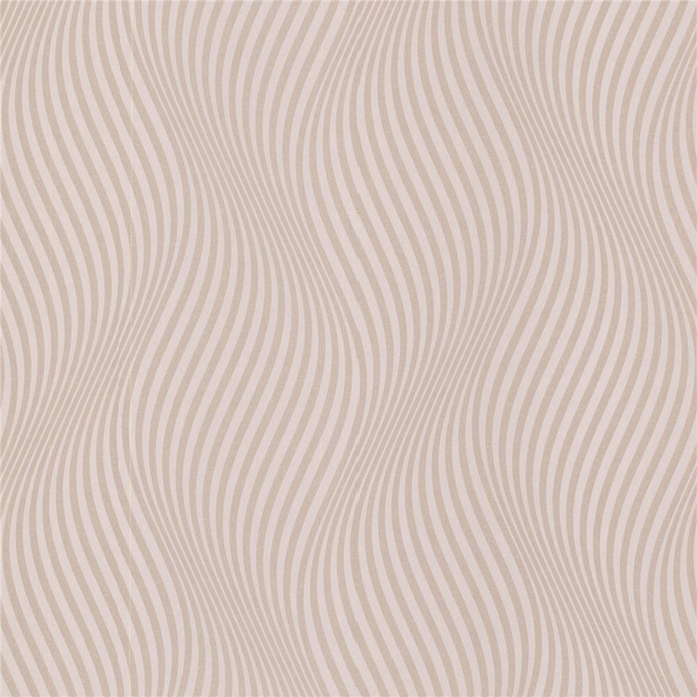 Decorline by Brewster 488-31221 Geo Zenia Light Pink Small Ogee Wave Wallpaper in Light Pink