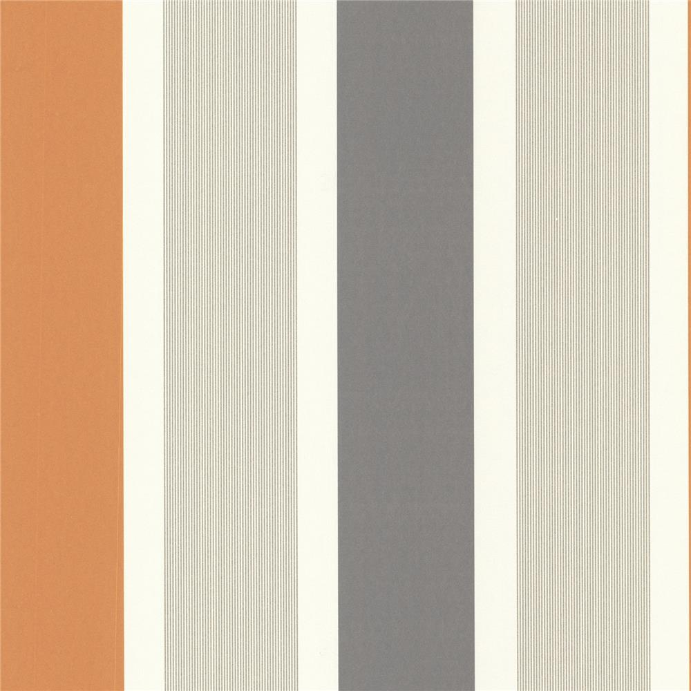 Decorline by Brewster 488-31226 Geo Horizon Orange Stripe Wallpaper in Orange