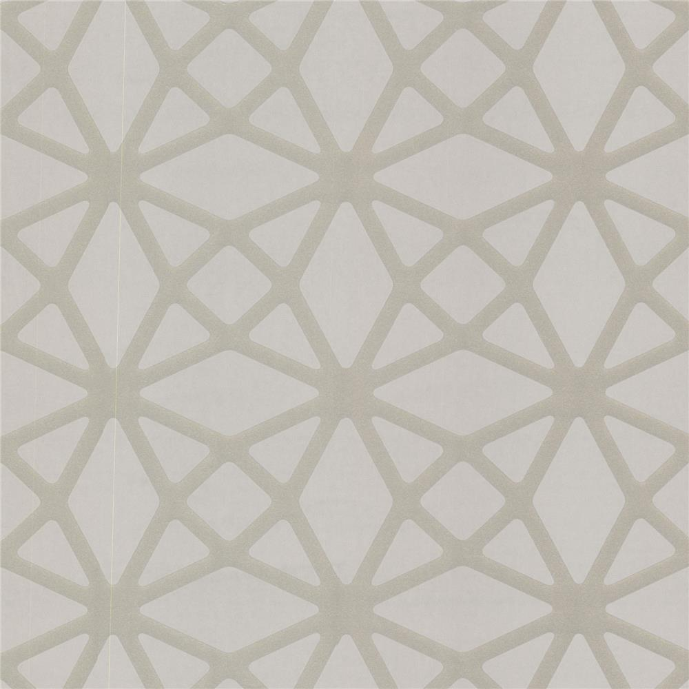 Decorline by Brewster 488-31240 Geo Enterprise Pewter Lattice Wallpaper in Pewter