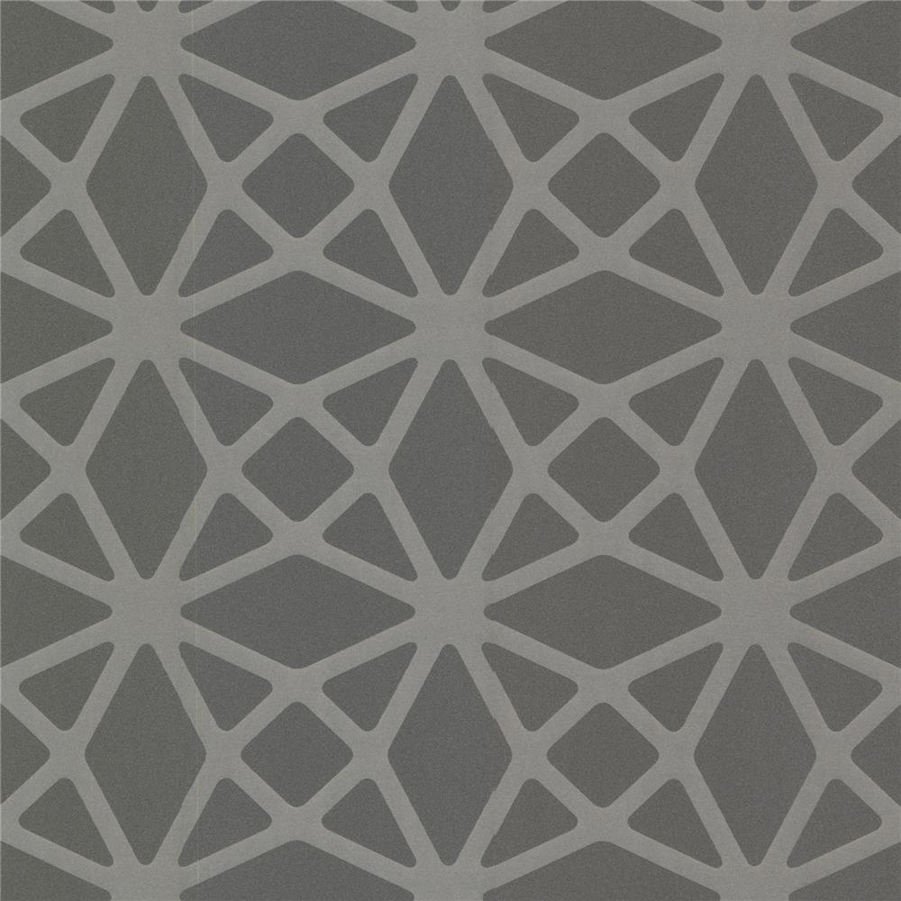Decorline by Brewster 488-31243 Geo Enterprise Charcoal Lattice Wallpaper in Charcoal
