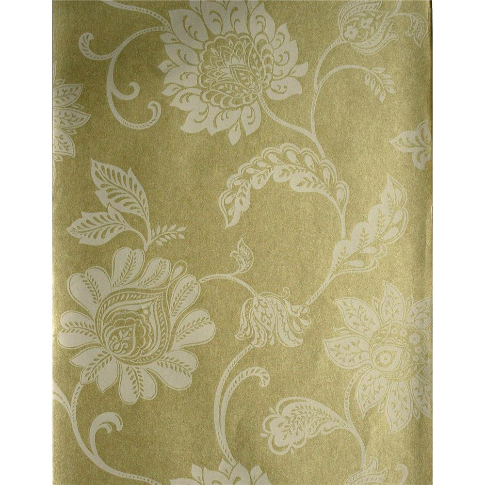 Kenneth James by Brewster 57-51901 Savoy Lillith Pearl Jacobean Trail Wallpaper in Pearl