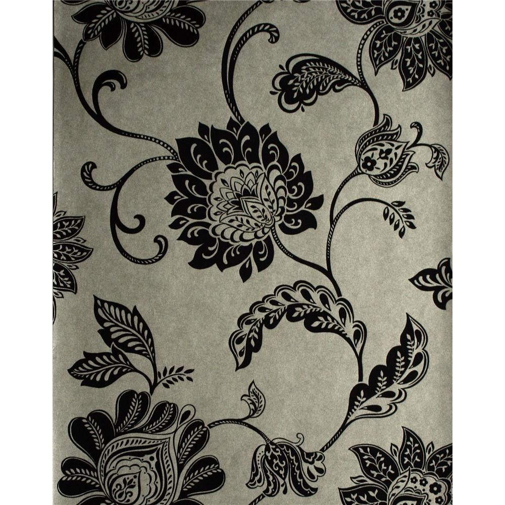 Kenneth James by Brewster 57-51905 Savoy Lillith Pewter Jacobean Trail Wallpaper in Pewter