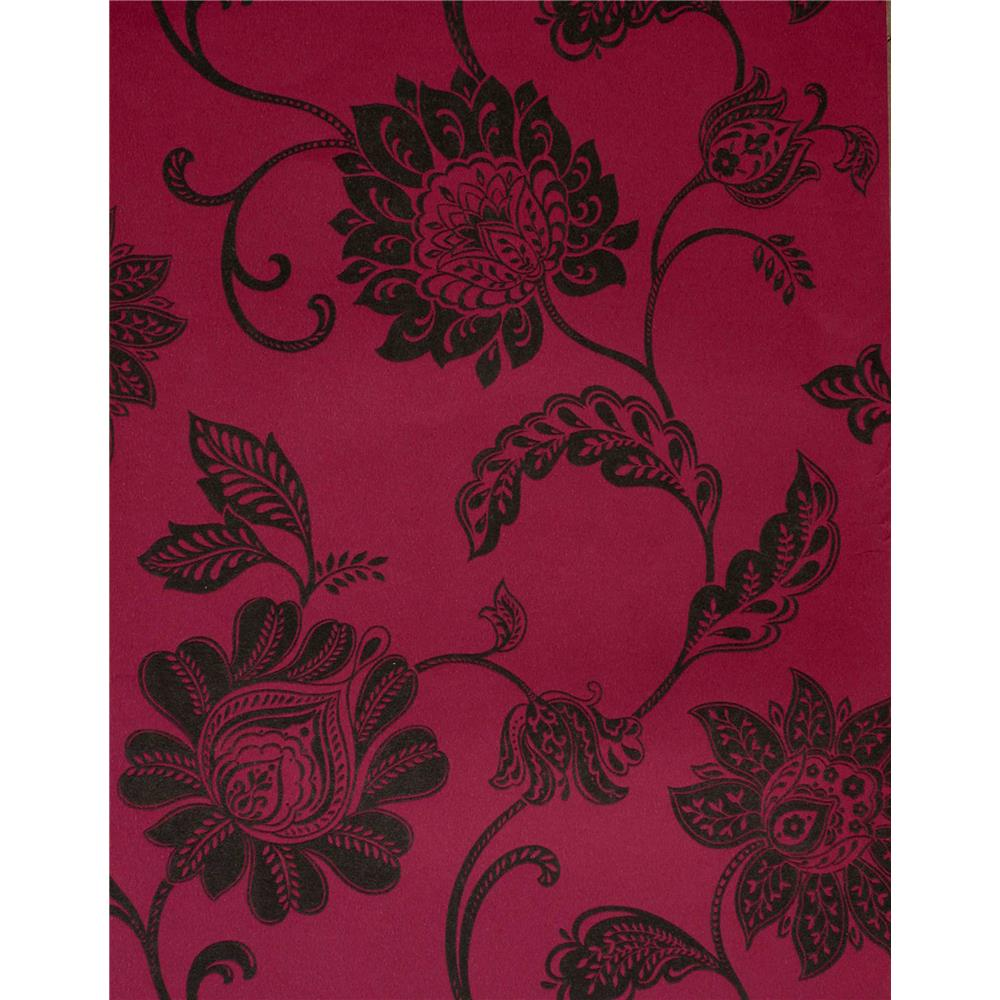 Kenneth James by Brewster 57-51906 Savoy Lillith Pink Jacobean Trail Wallpaper in Pink