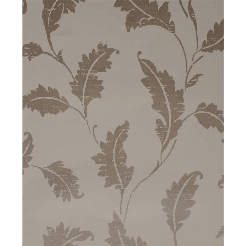 Kenneth James by Brewster 57-51916 Savoy Amore Taupe Leaf Trail Wallpaper in Taupe