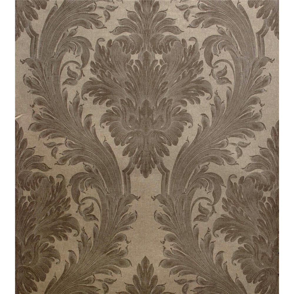 Kenneth James by Brewster 57-51939 Savoy Vincenzo Taupe Linen Damask Wallpaper in Taupe