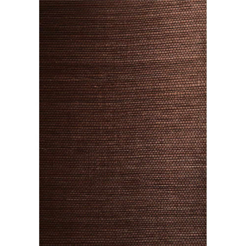 Kenneth James by Brewster 63-54721 Shangri La Xiu Dark Brown Grasscloth Wallpaper in Dark Brown