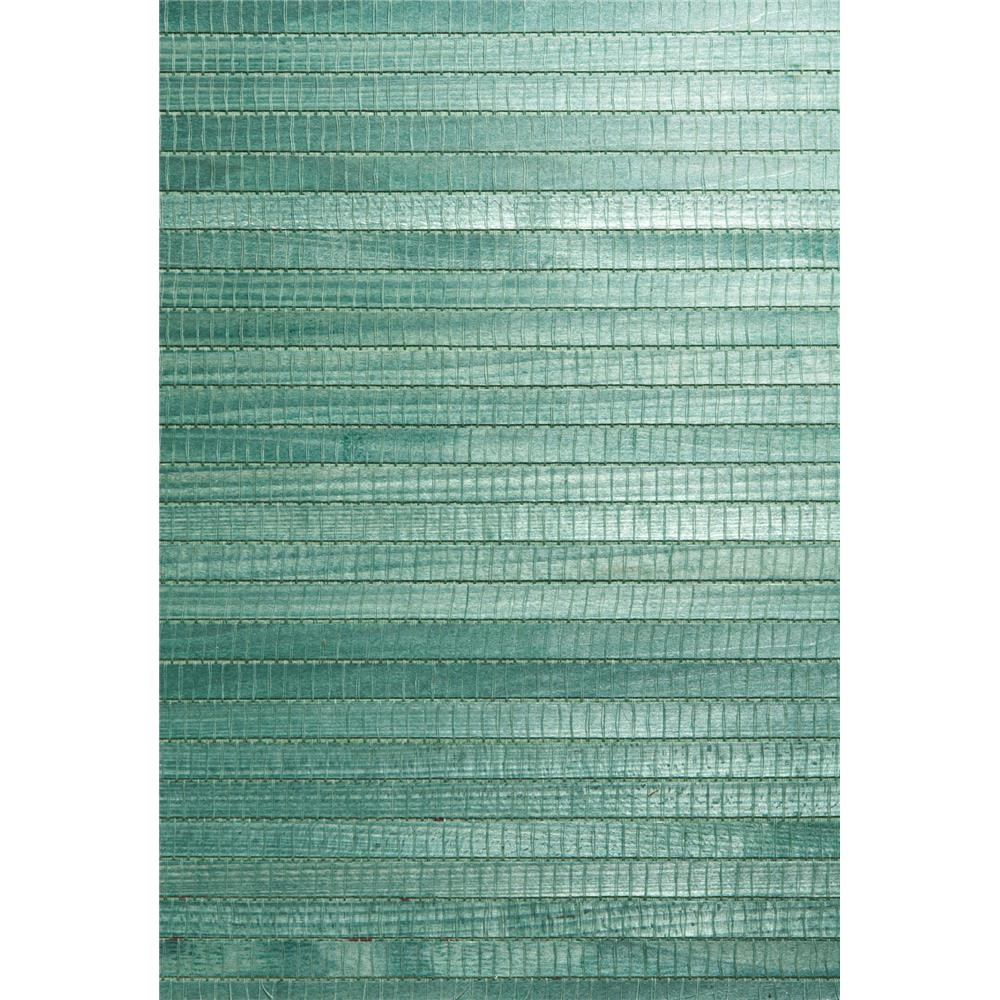 Kenneth James by Brewster 63-54728 Shangri La Kumi Green Grasscloth Wallpaper in Green