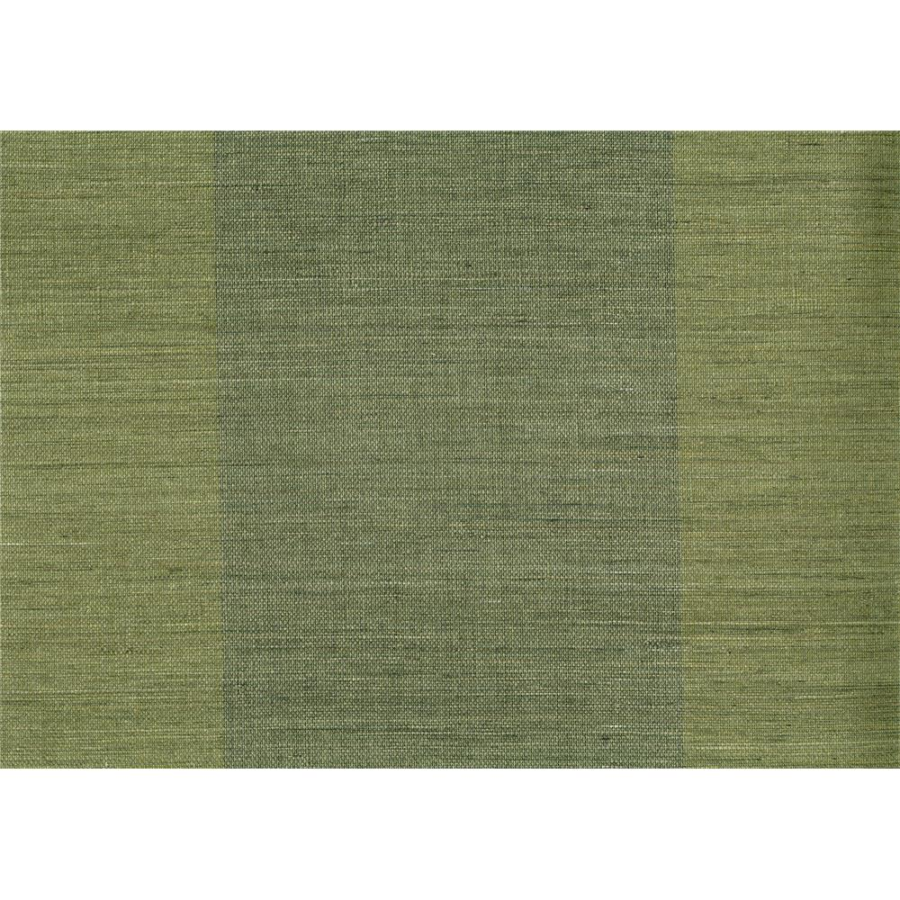 Kenneth James by Brewster 63-54743 Shangri La Yu Jie Dark Green Grasscloth Wallpaper in Dark Green