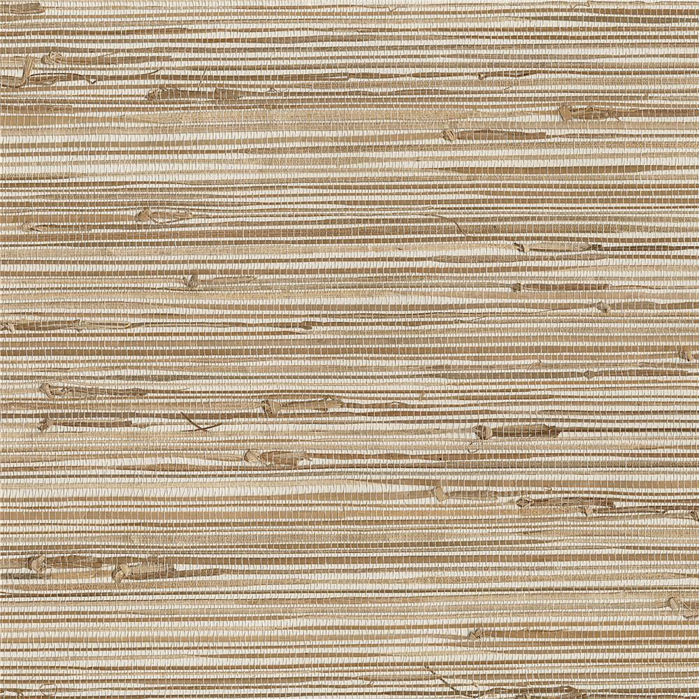 Kenneth James by Brewster 63-65601 Shangri La Ting Taupe Grasscloth Wallpaper in Taupe