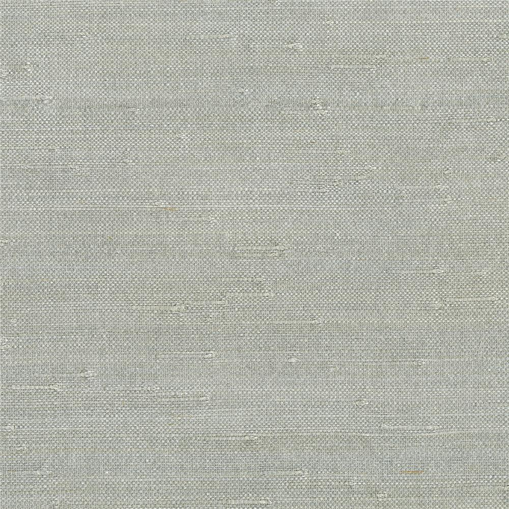 Kenneth James by Brewster 63-65655 Shangri La Jin Light Gray Grasscloth Wallpaper in Light Gray