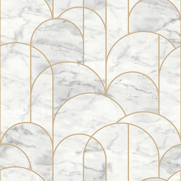 Engblad & Co by Brewster 8823 Arch Light Grey Geometric Wallpaper
