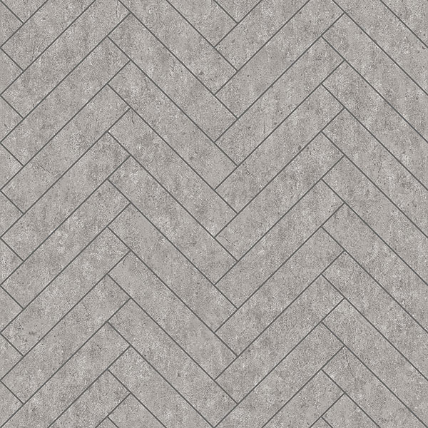 Engblad & Co by Brewster 8833 Raw Tiles Light Grey Herringbone Concrete Wallpaper