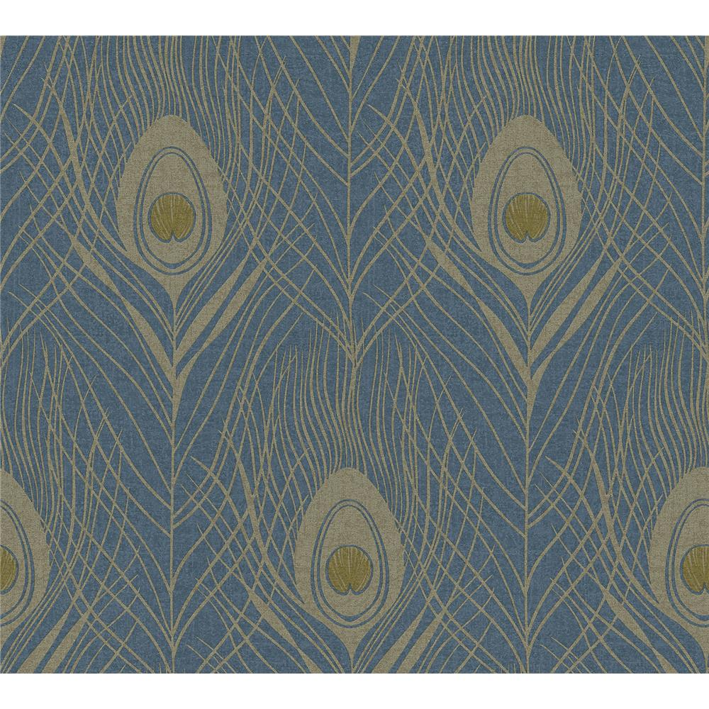 AS Creation by Brewster AS369712 Prosperity Blue Feather Wallpaper