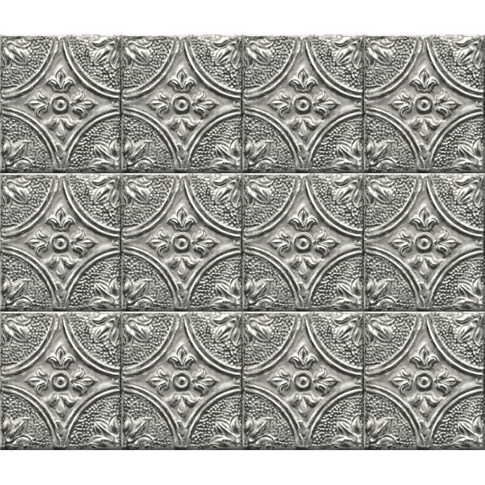 Brewster BHF2774 Silver Tin Tile Peel & Stick Backsplash