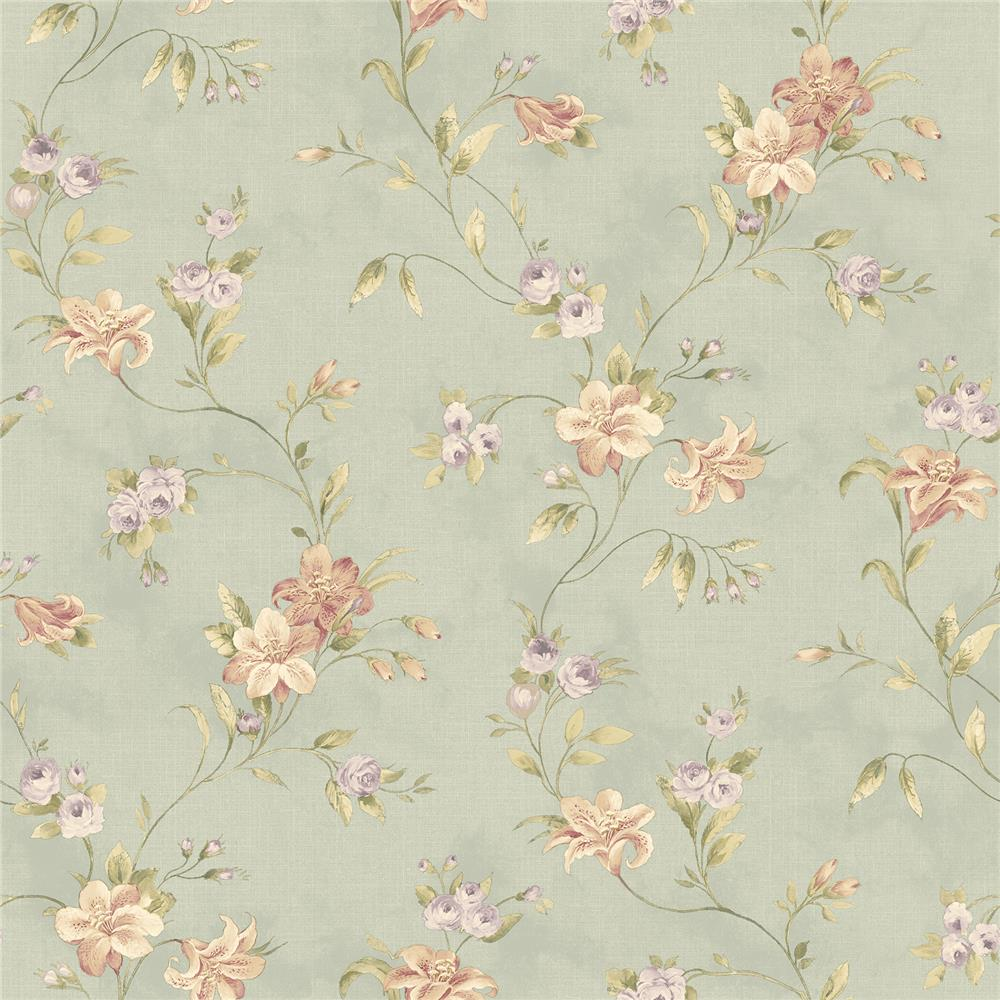 Chesapeake by Brewster CCB02134 Lorraine Lily Blue Floral Wallpaper