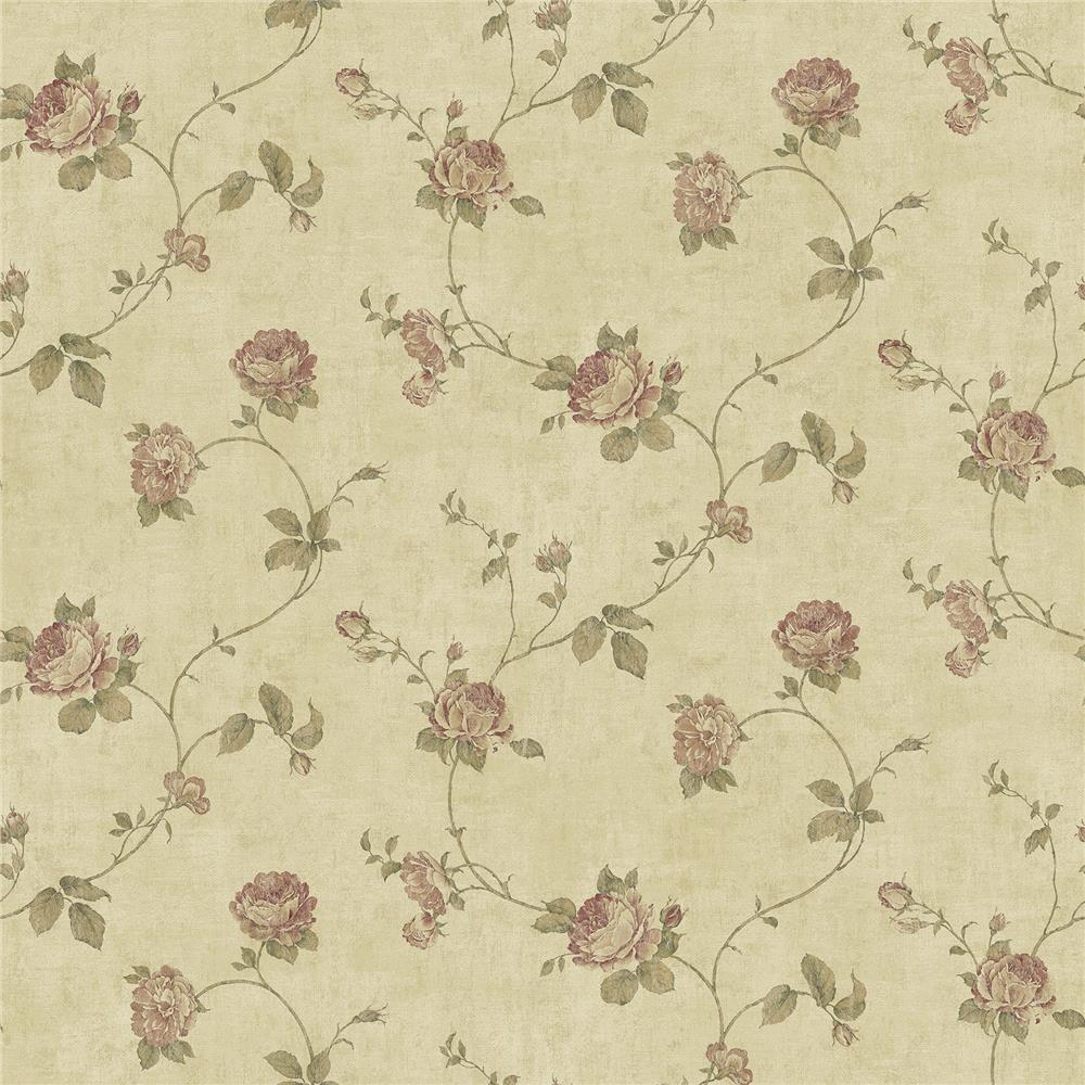 Chesapeake by Brewster CCB02152 Darby Rose Taupe Trail Wallpaper