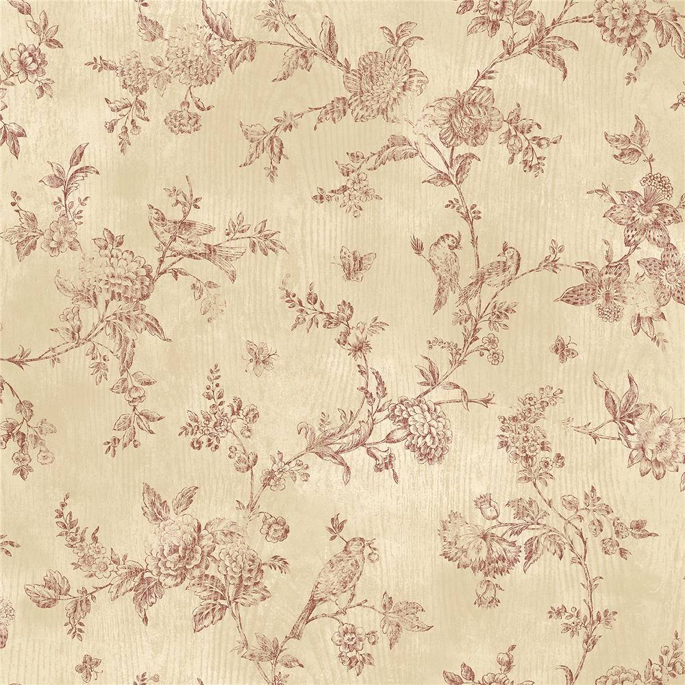 Chesapeake by Brewster CCB02191 French Nightingale Dark Red Toile Wallpaper
