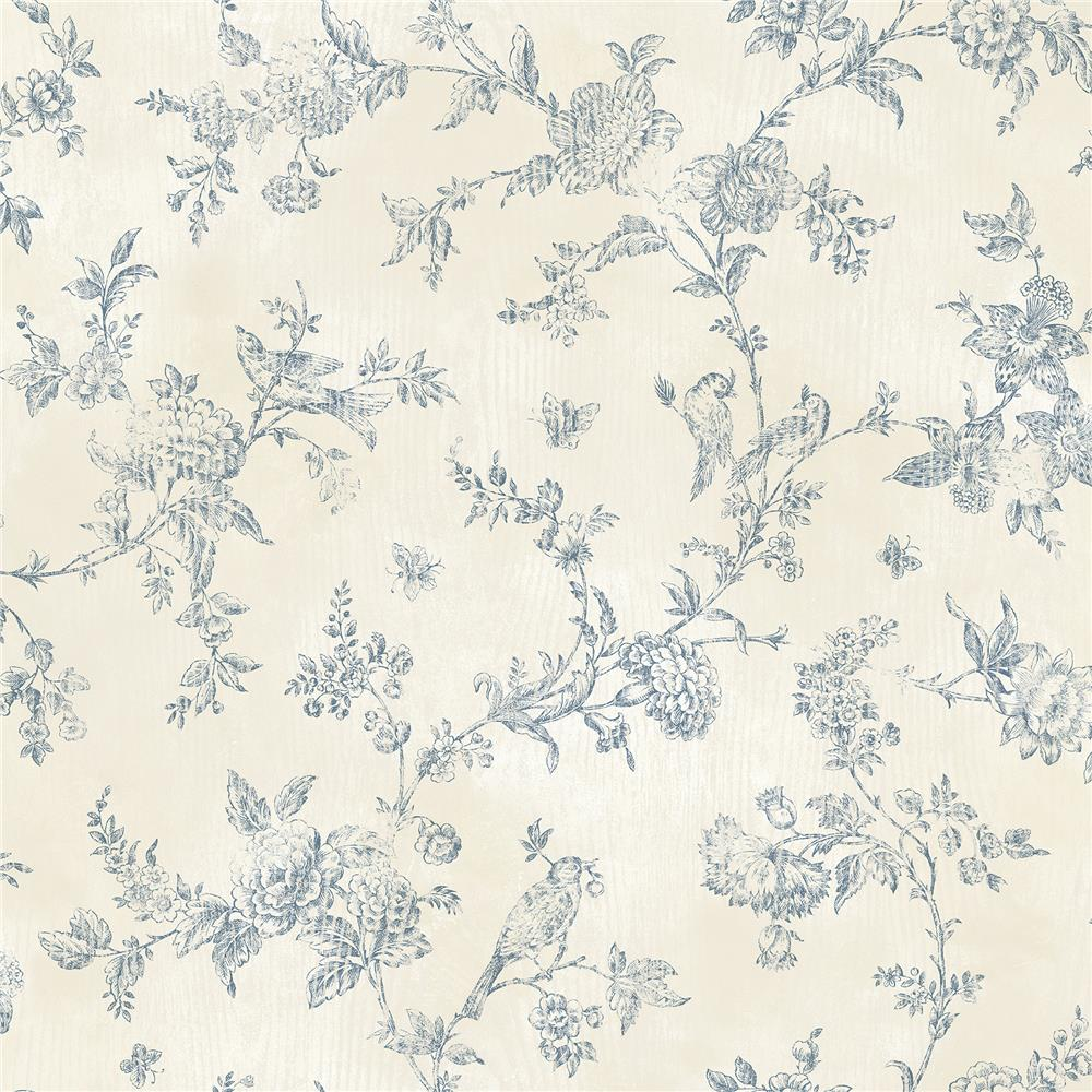 Chesapeake by Brewster CCB02192 French Nightingale Blueberry Toile Wallpaper