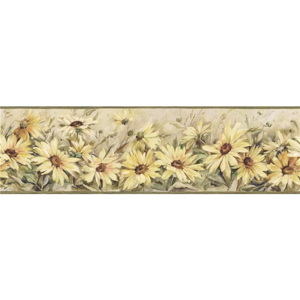 Chesapeake by Brewster CCB2231 Regal Sunflowers Yellow Border