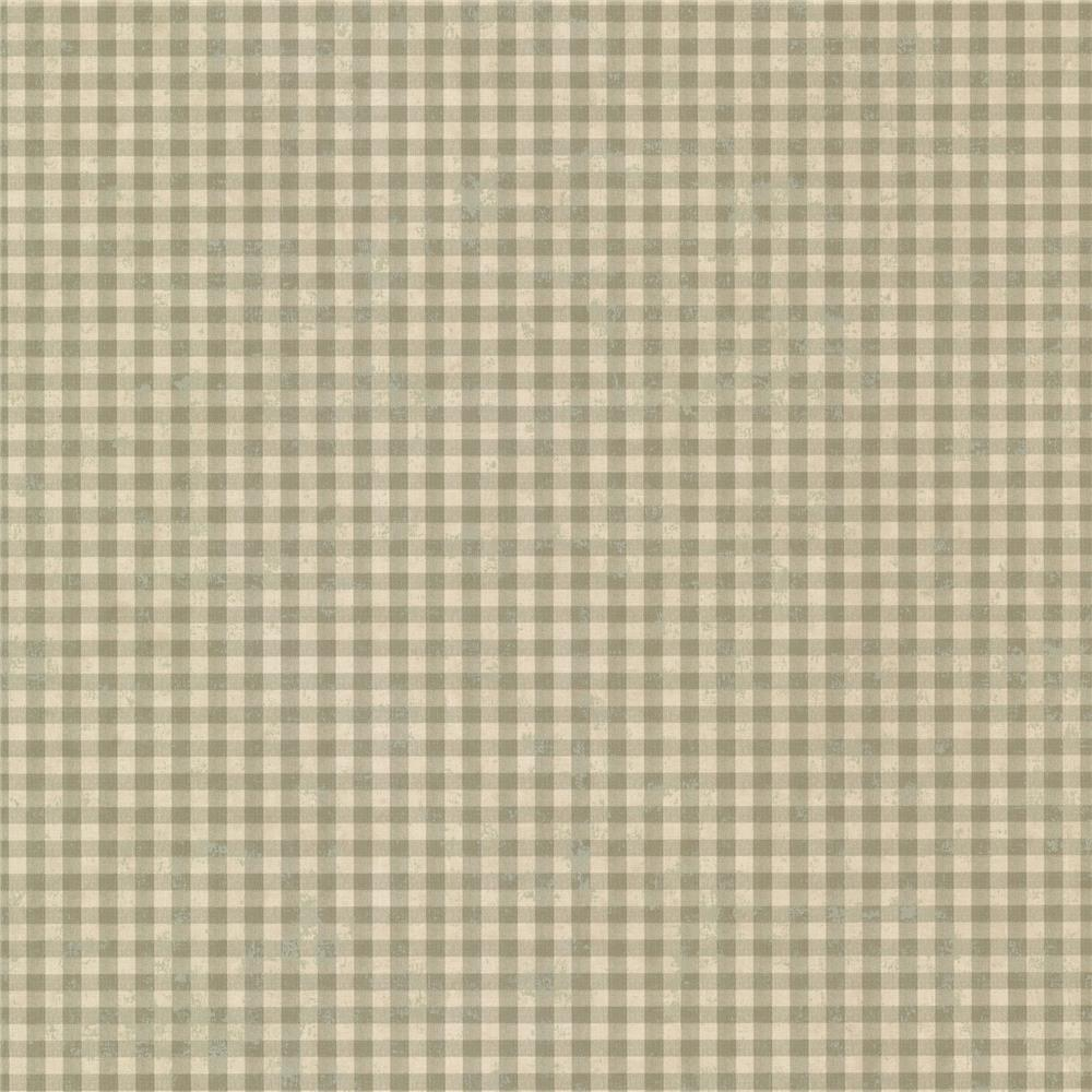 Chesapeake by Brewster CCB44016 Gingham Green Check Wallpaper