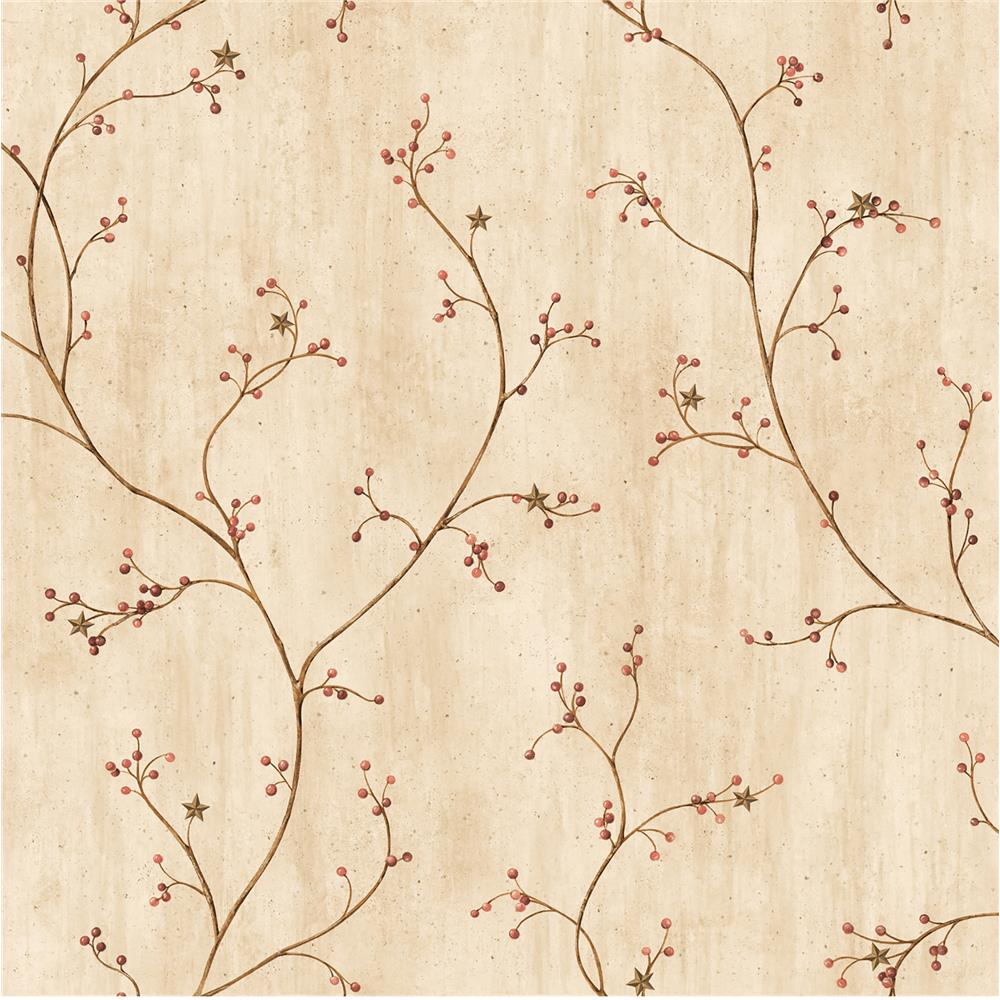 Chesapeake by Brewster CCB44032 Star Berry Red Vine Wallpaper