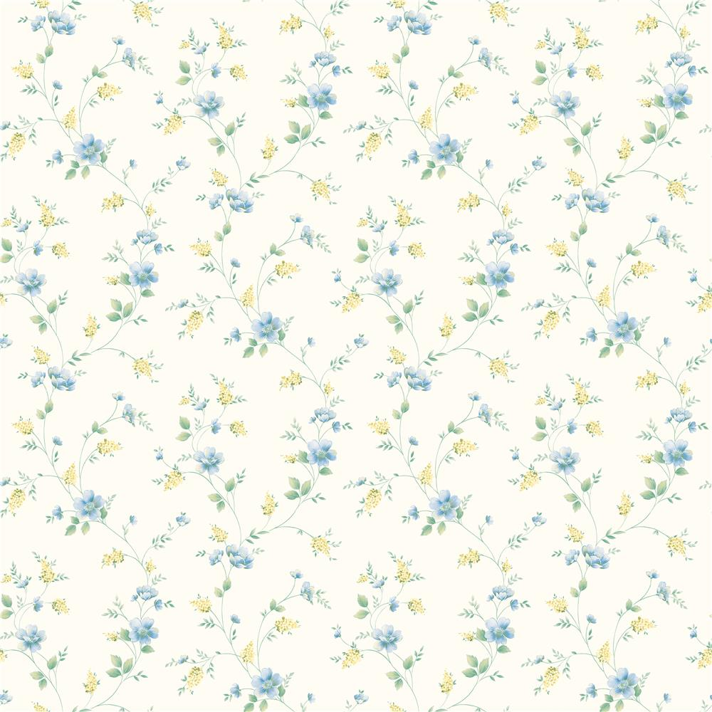 Chesapeake by Brewster CKB21561 Kitchen; Bed; & Bath White Spring Bloom Trail Wallpaper in White