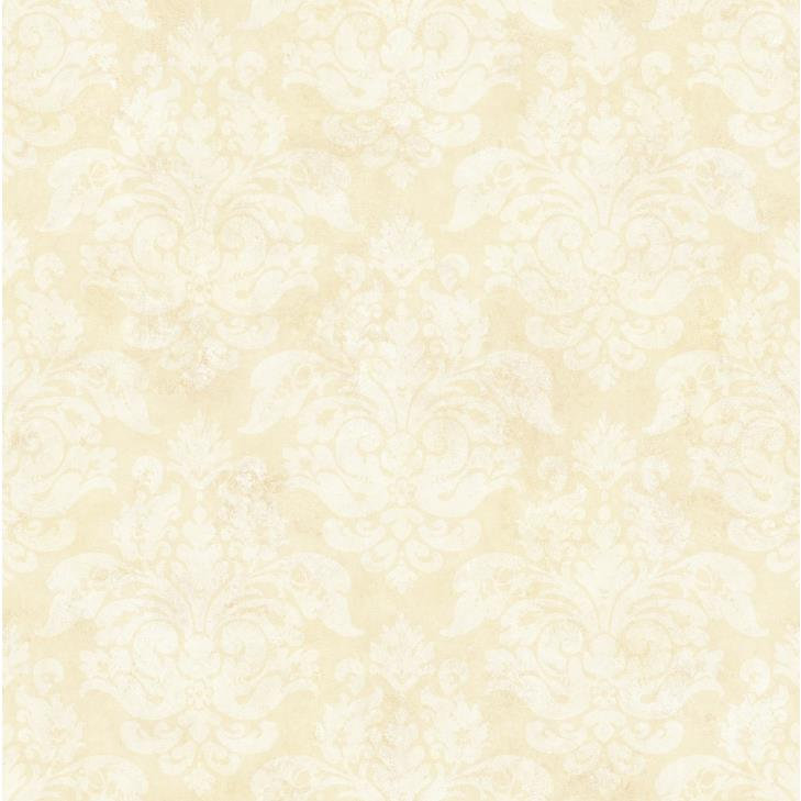 Chesapeake by Brewster CKB77726 Kitchen; Bed; & Bath Cream Peony Damask Wallpaper in Cream