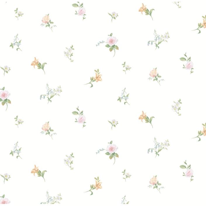 Chesapeake by Brewster CKB77811 Kitchen; Bed; & Bath White Tiger Lily Toss Wallpaper in White
