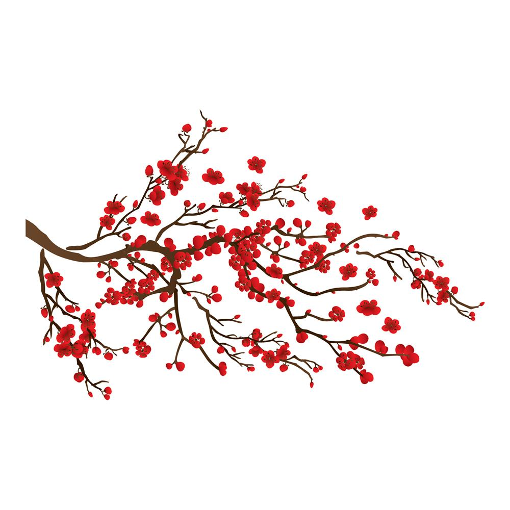 Home Decor Line by Brewster CR-58105 Home Decor Line Red Ramage Wall Decals