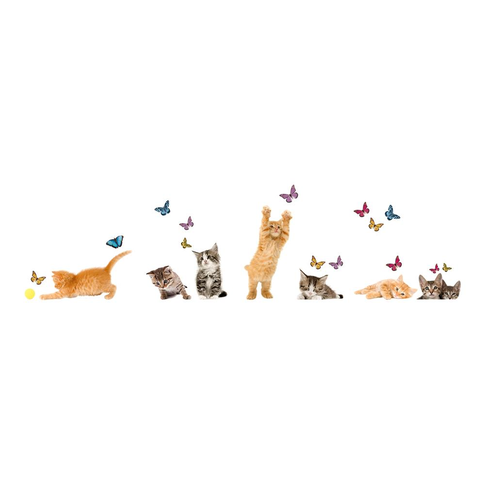 Home Decor Line by Brewster CR-64001 Home Decor Line Playful Cats And Butterflies Window Decal