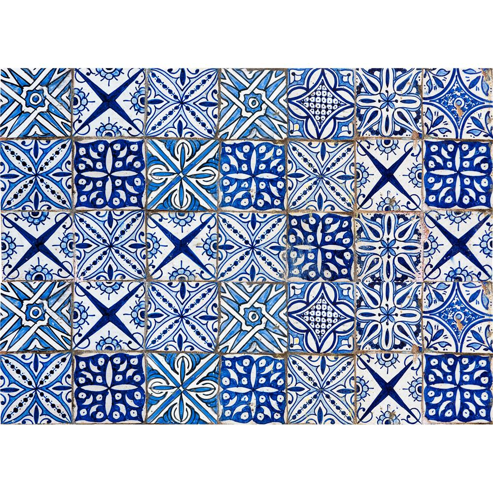Home Decor Line by Brewster CR-67215 Blue Azulejos Kitchen Panel Decal