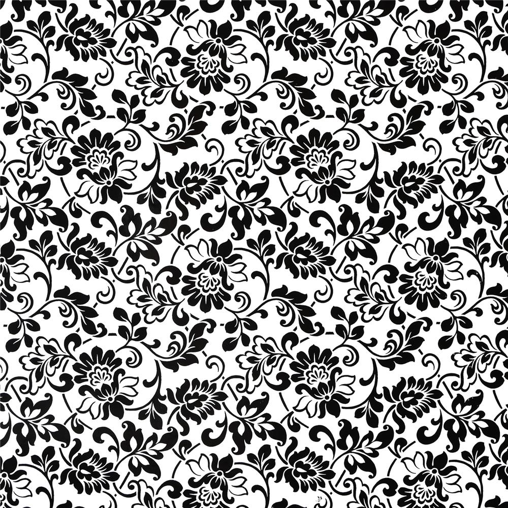 Fablon by Brewster FAB10247 Fablon Black & White Damask Adhesive Film
