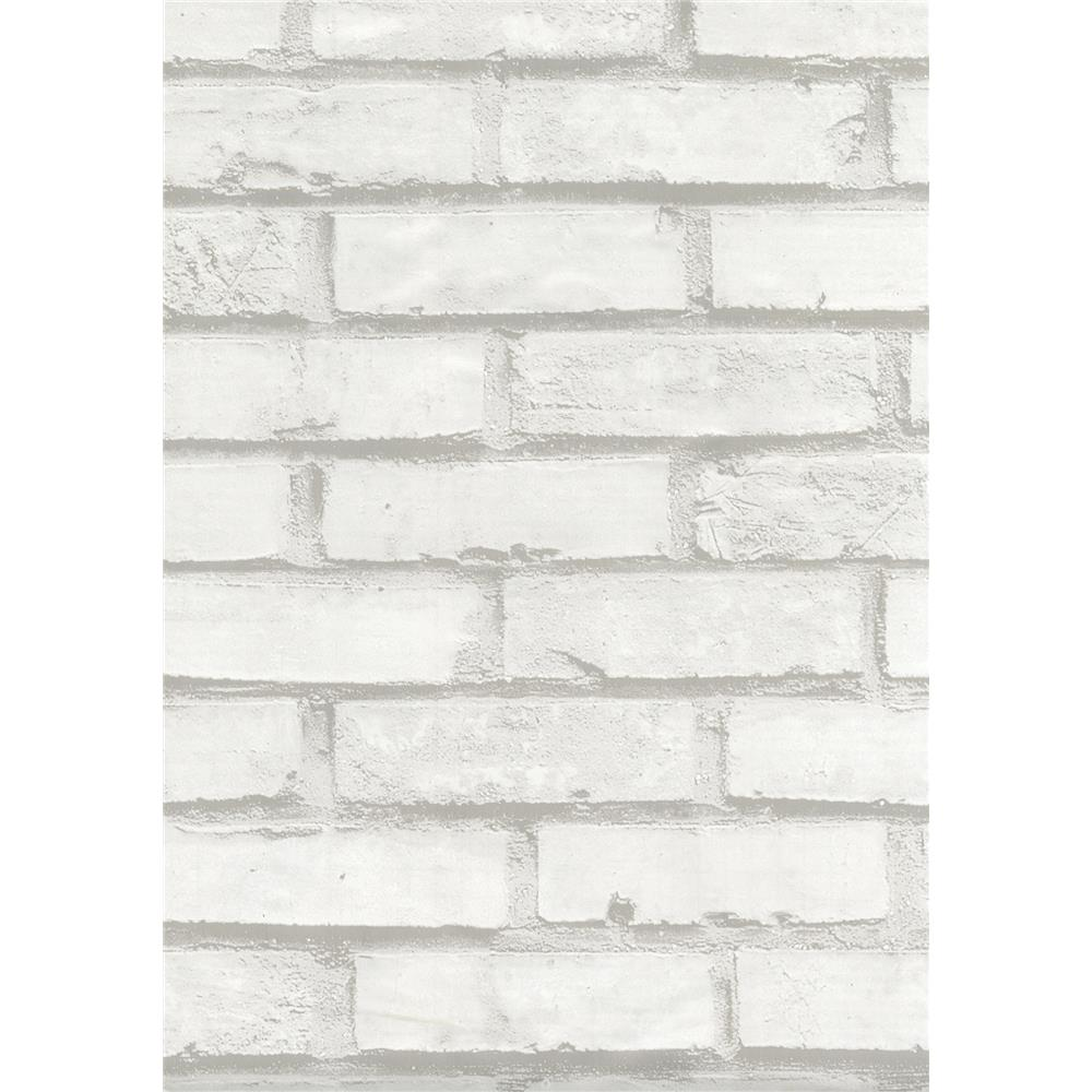 Fablon by Brewster FAB12206 Brick White Adhesive Film