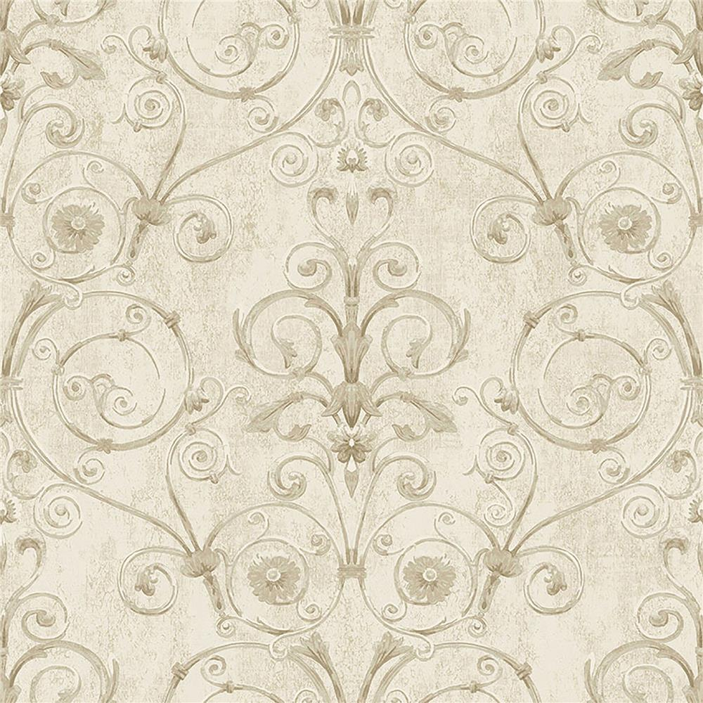 Brewster IWB00803 Curlicue Beige Scroll Wallpaper