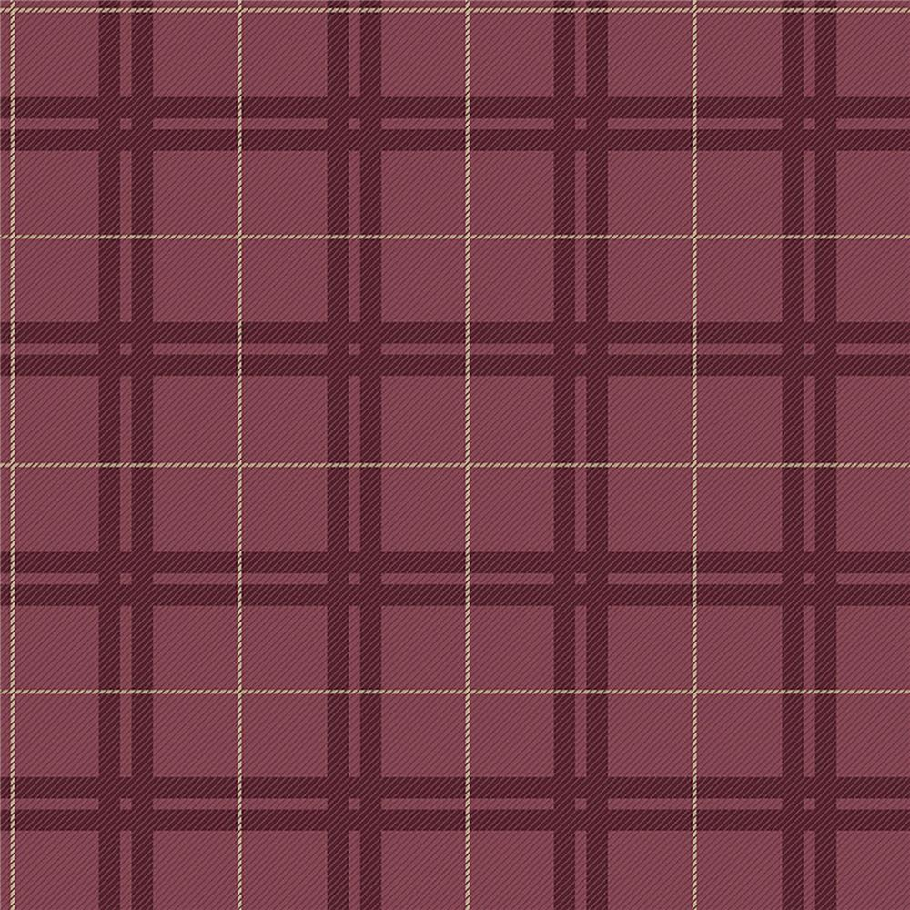 Brewster IWB00816 Hilary Red Plaid Wallpaper
