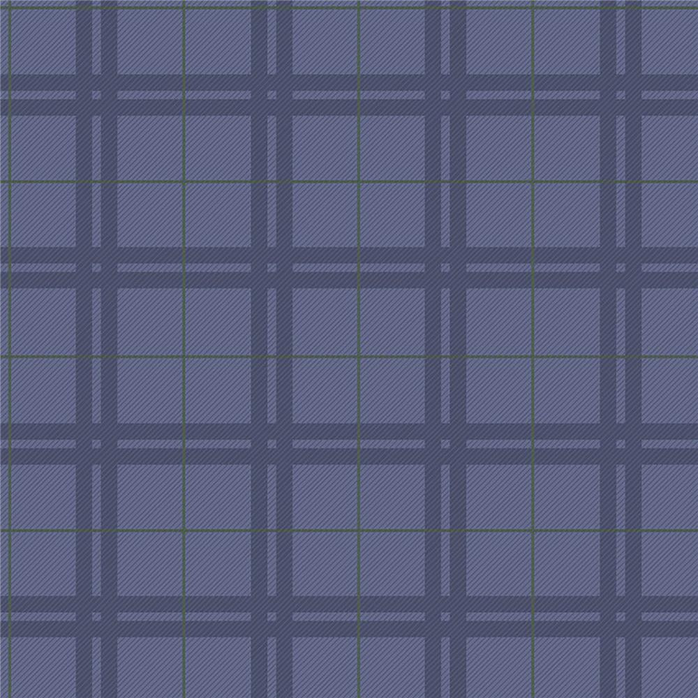 Brewster IWB00820 Hilary Blue Plaid Wallpaper