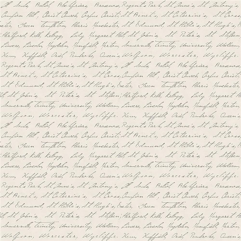 Brewster IWB00839 Emeritus Beige Calligraphy Wallpaper