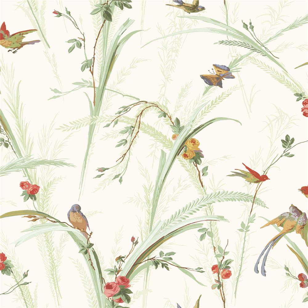 Chesapeake by Brewster MEA19321 Meadowlark Cheshire Green Meadowlark Trail Wallpaper in Green