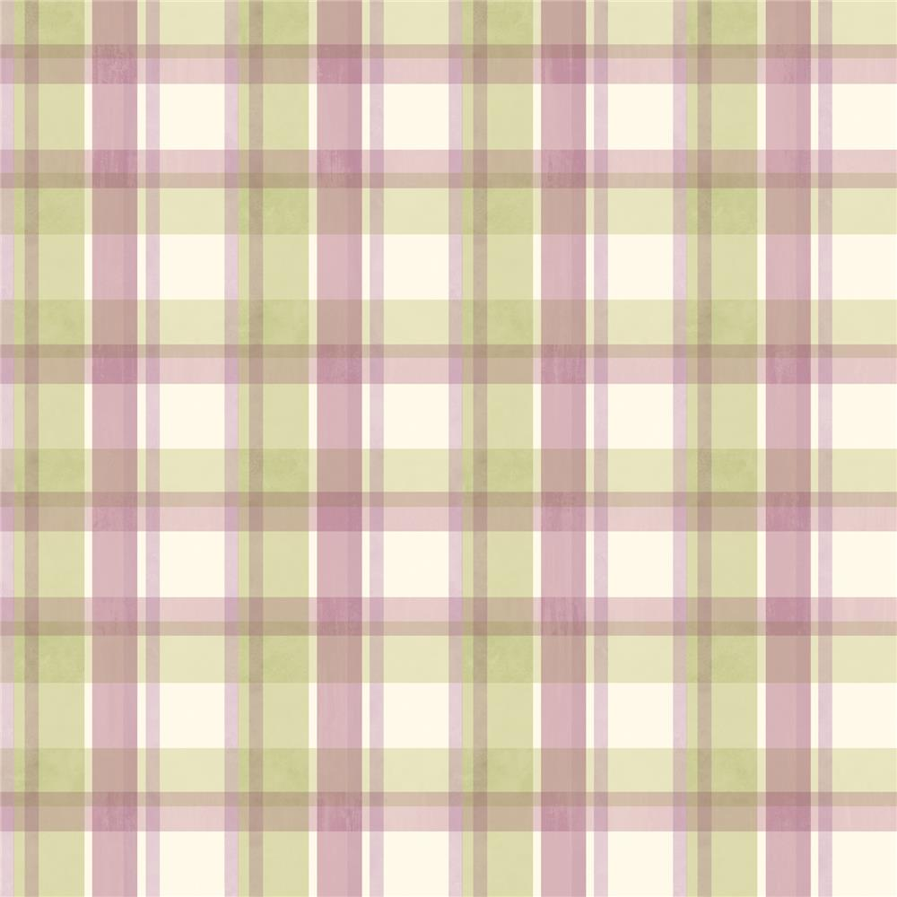 Chesapeake by Brewster MEA21534 Meadowlark Bennetts Green Sunday Plaid Wallpaper in Green