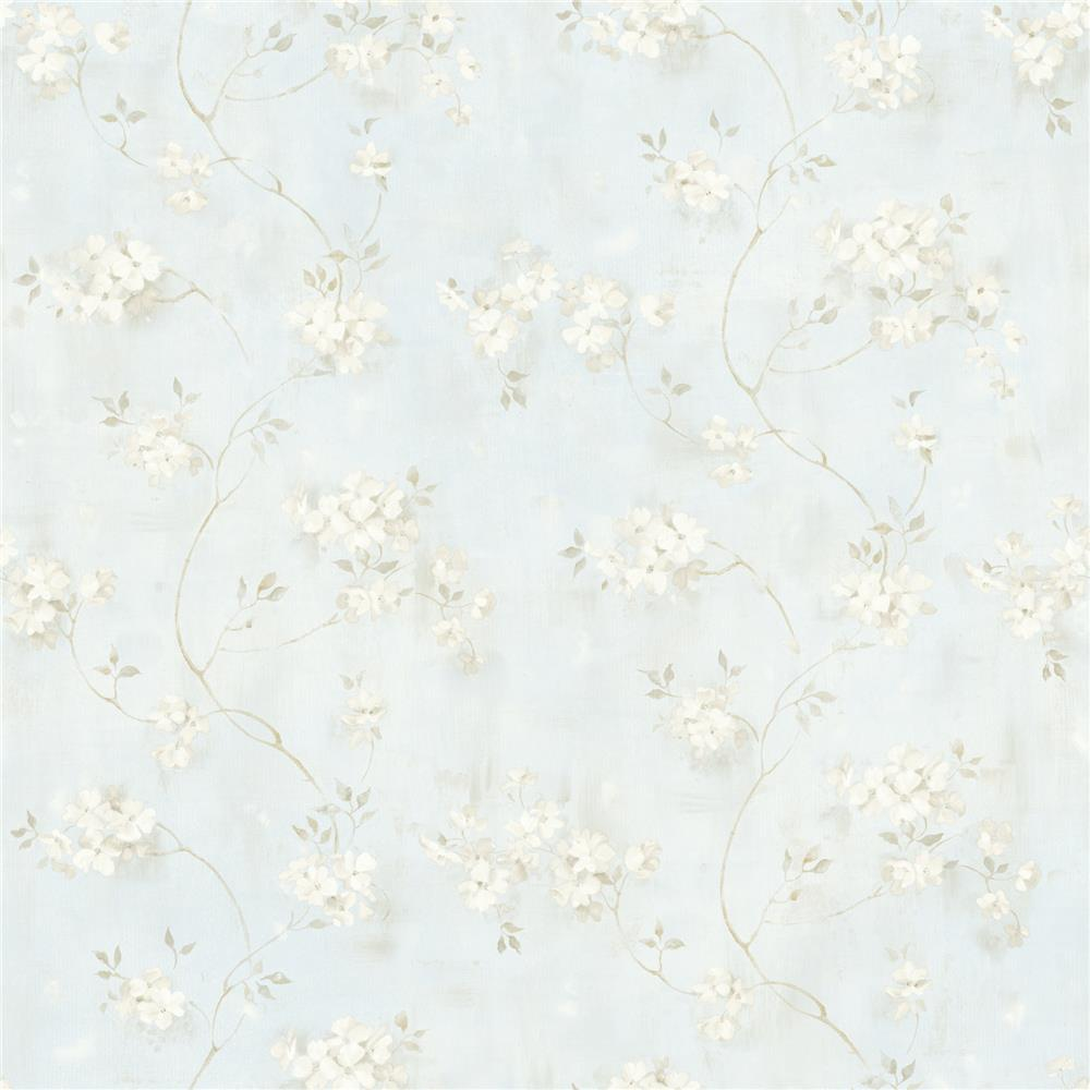 Chesapeake by Brewster MEA44107 Meadowlark Rosemoor Blue Country Floral Wallpaper in Blue