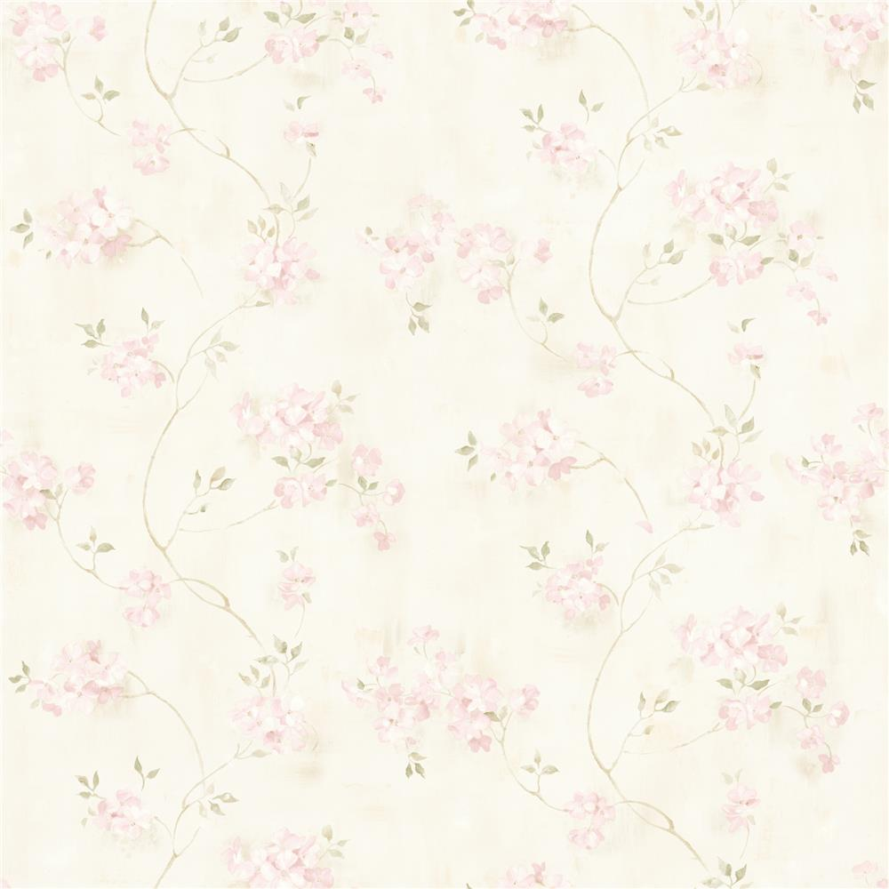 Chesapeake by Brewster MEA44108 Meadowlark Rosemoor Pink Country Floral Wallpaper in Pink