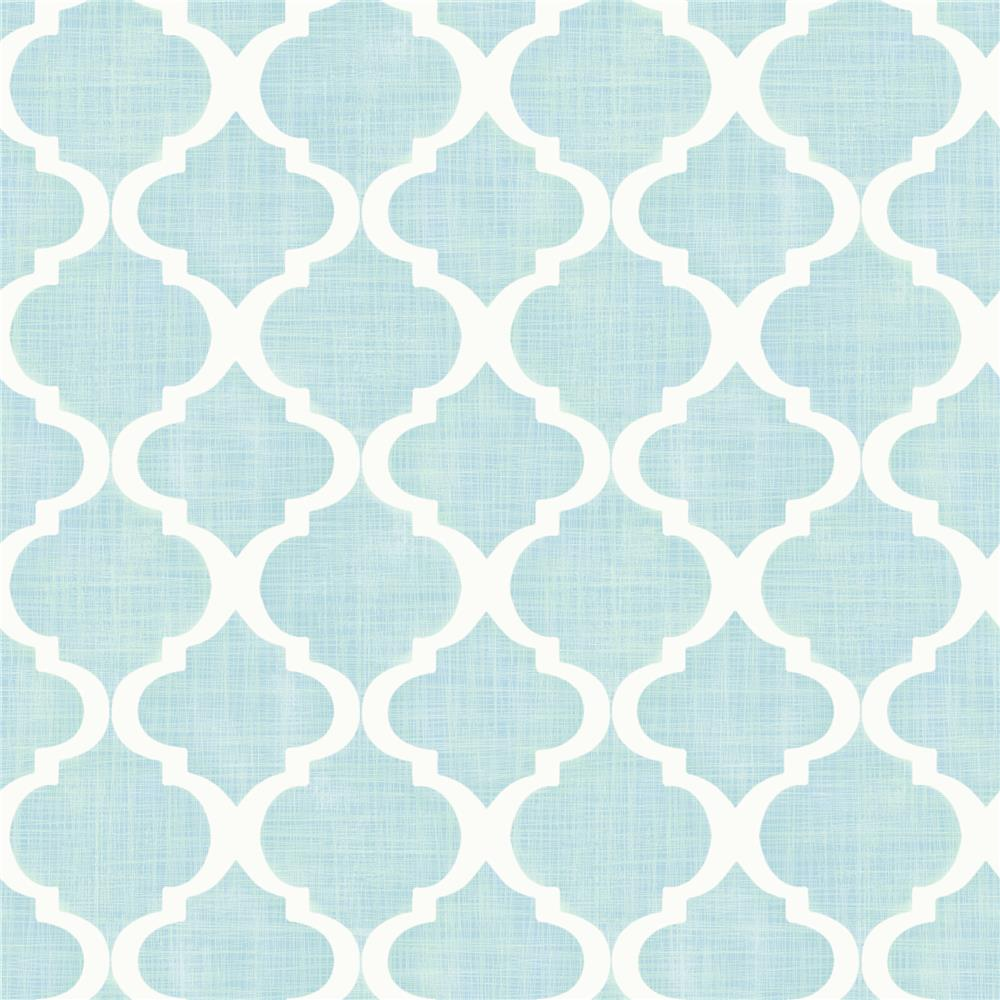 Chesapeake by Brewster MEA79013 Meadowlark Tabitha Aqua Watercolor Quatrefoil Wallpaper in Aqua