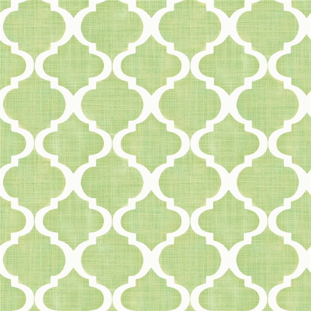 Chesapeake by Brewster MEA79014 Meadowlark Tabitha Golden Green Watercolor Quatrefoil Wallpaper in Golden Green