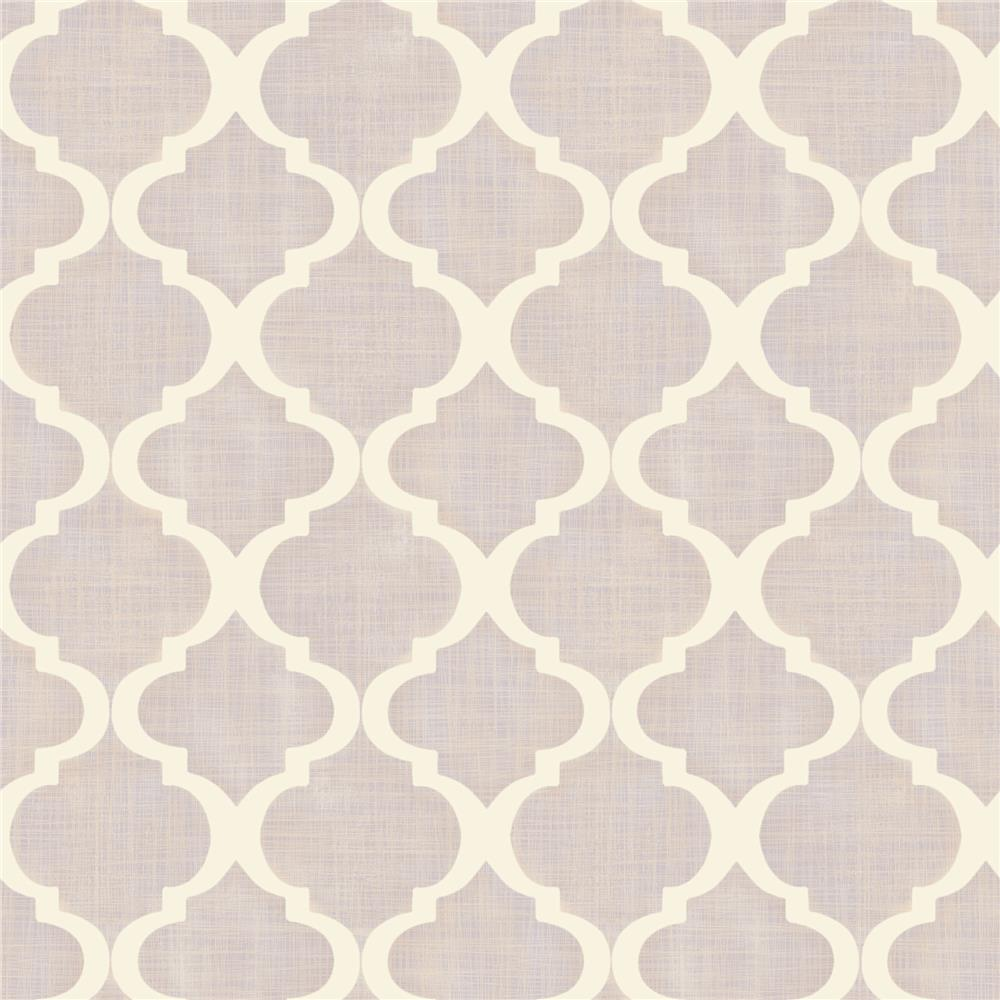 Chesapeake by Brewster MEA79015 Meadowlark Tabitha Lavender Watercolor Quatrefoil Wallpaper in Lavender