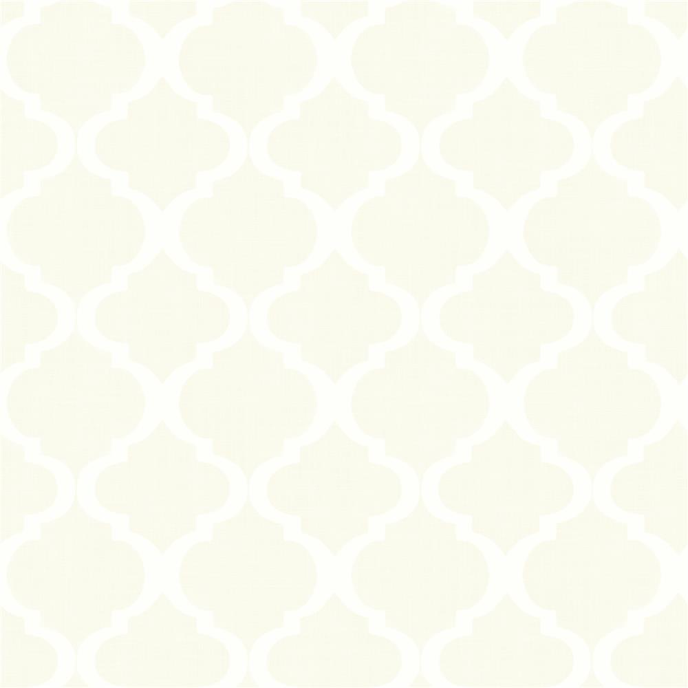 Chesapeake by Brewster MEA79016 Meadowlark Tabitha Cream Watercolor Quatrefoil Wallpaper in Cream