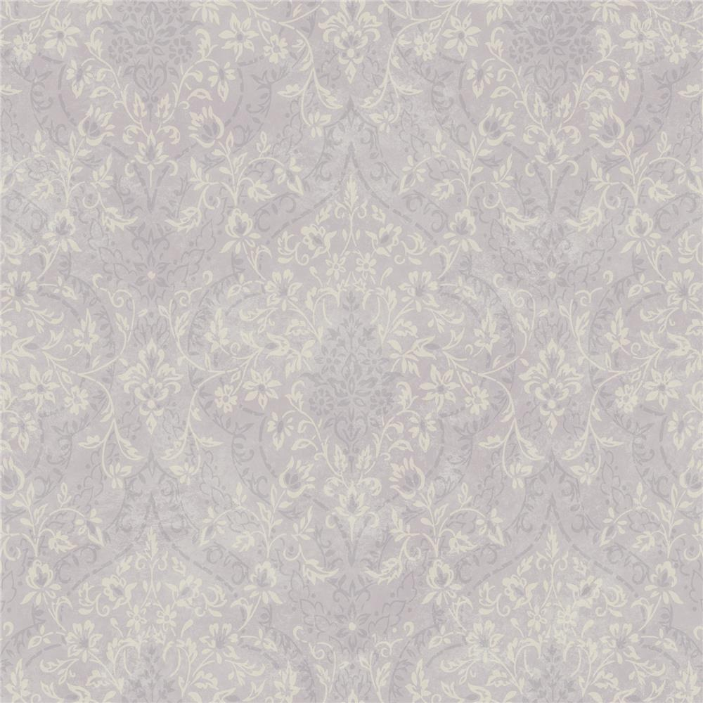 Chesapeake by Brewster MEA79074 Meadowlark Essex Lavender Lacey Damask Wallpaper in Lavender