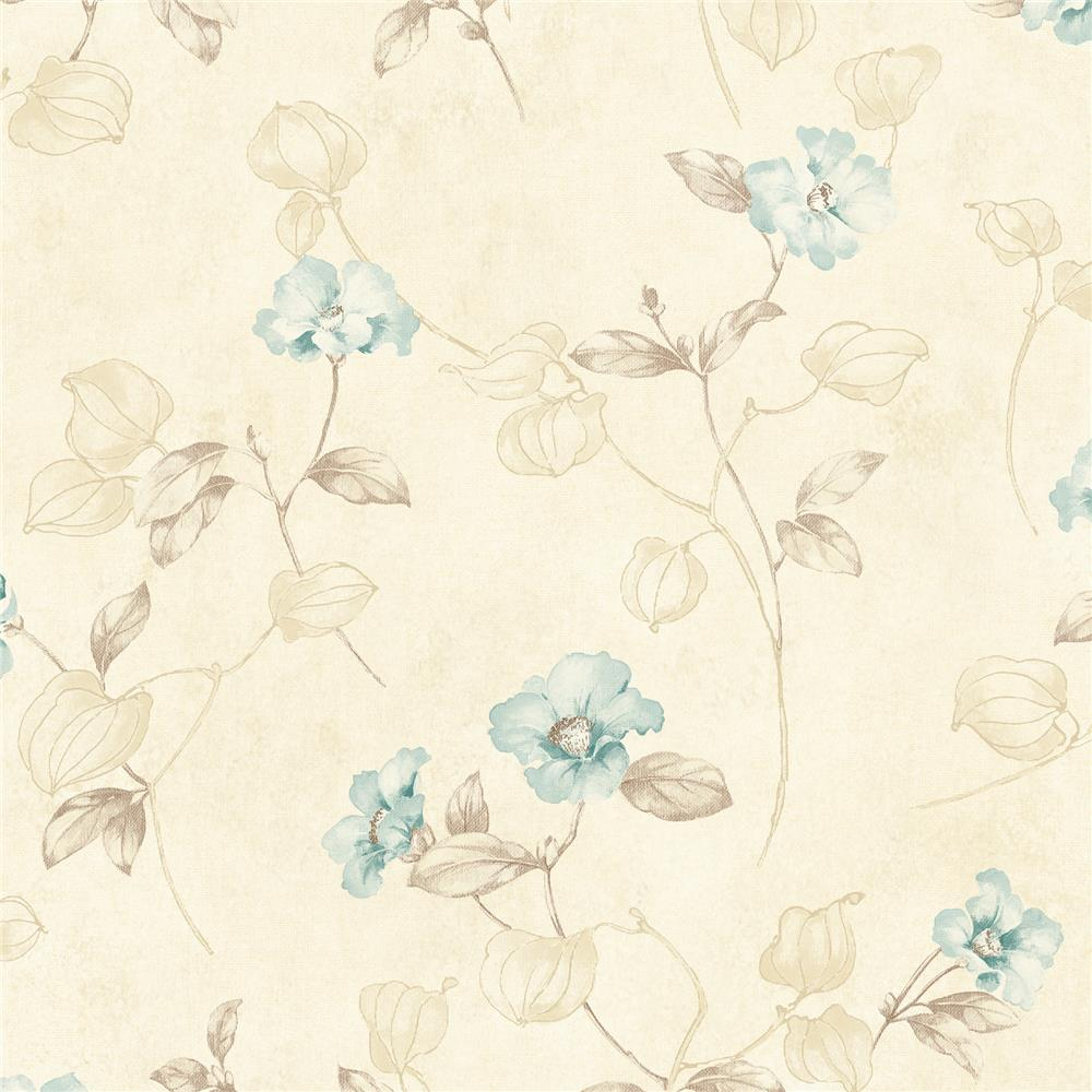 Chesapeake by Brewster MEA79133 Meadowlark Surrey Blue Petunia Trail Wallpaper in Blue
