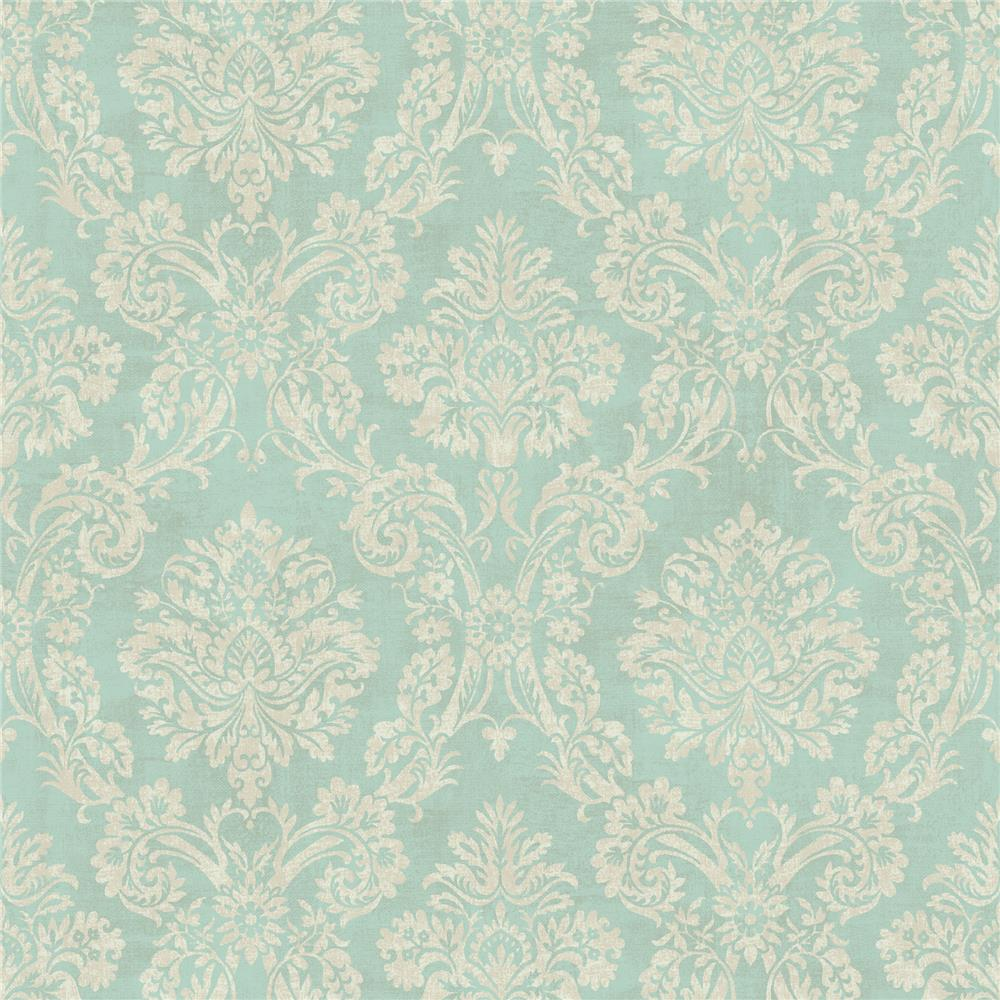 Chesapeake by Brewster MEA79154 Meadowlark Kent Aqua Garden Damask Wallpaper in Aqua