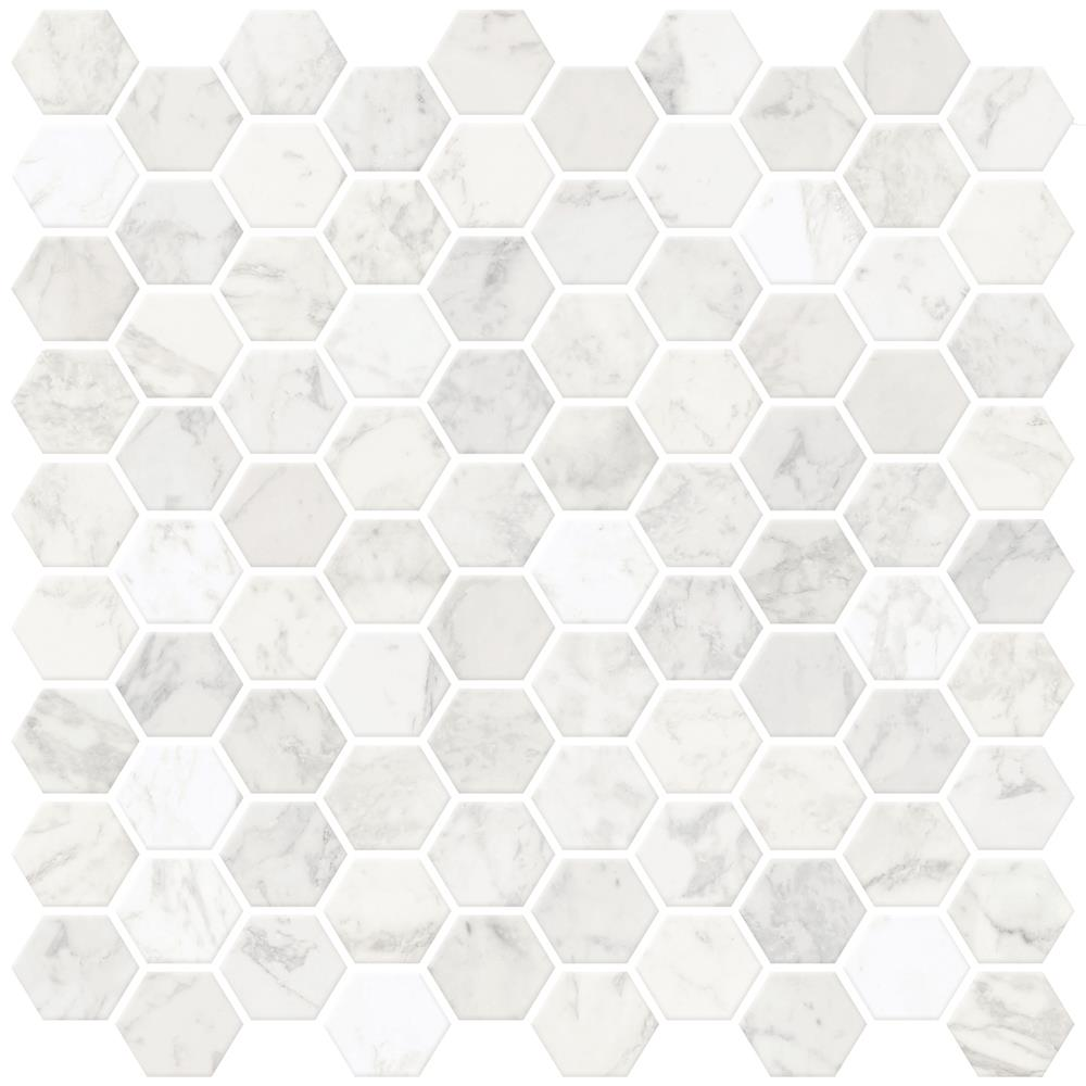 InHome by Brewster NH2359 Hexagon Marble Peel & Stick Backsplash Tiles